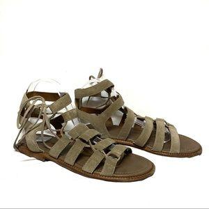 Frye Blair Ghillie Ash Tan Side Lace Up Sandals